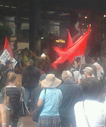 ANGER: The protesters gather outside Sky City.