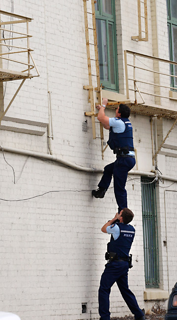 Police officer ladder