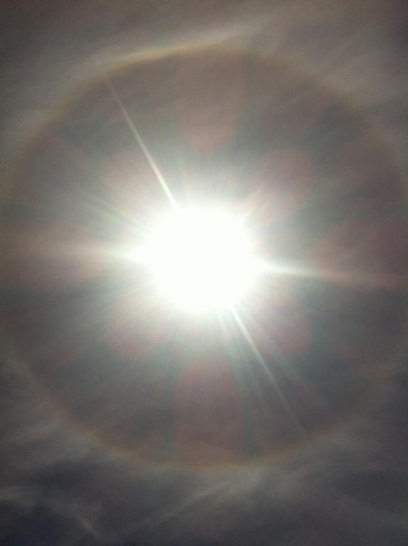The halo seen around the sun in Christchurch today.