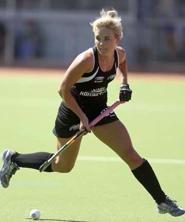 ON THE BALL: Charlotte Harrison in action for the Black Sticks.