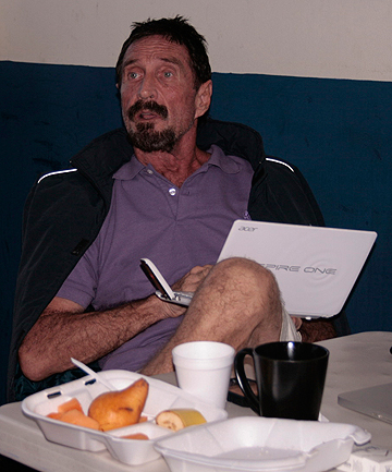 DETAINED: US anti-virus software guru John McAfee in a migrant shelter, where he is detained in Guatemala City, December 6.