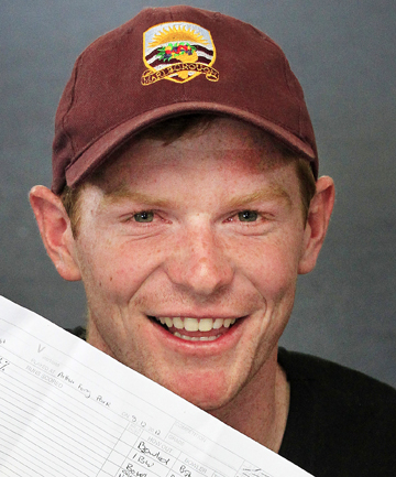 Got the lot: Marlborough cricketer Ben Stark holds the scoresheet detailing his record-breaking exploits in Greymouth