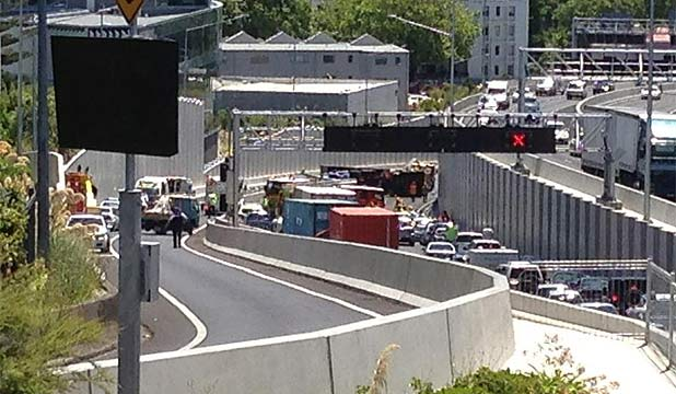 TRAFFIC DELAYS: The backlog of traffic forming at the motorway tunnel.