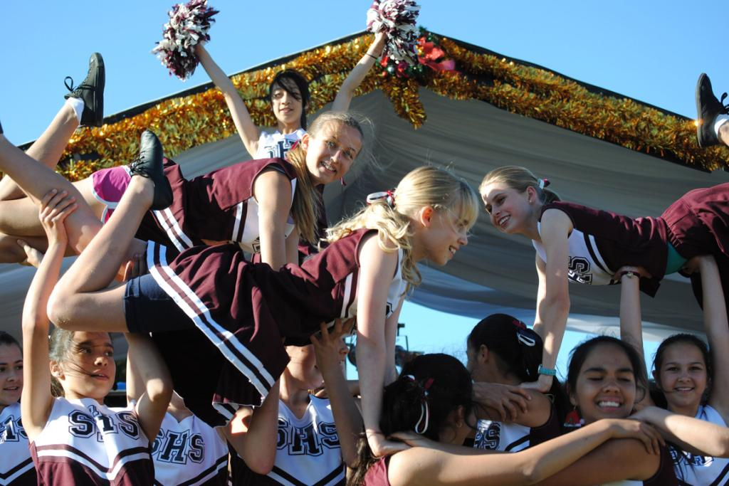 UP HIGH: Cheerleaders from St Heliers School show off their moves.