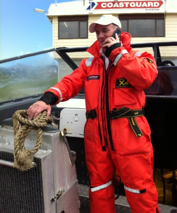 Riverton coastguard spokesman Noel Anderson with one of the ropes that snapped while towing a life raft into Riverton harbour. It was found afloat 35km west of Riverton this morning.