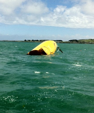 The life raft found in Foveaux Strait today.