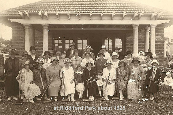 Women only: Members of the Waimarie Croquet Club  at Riddiford Park in 1925.  Like all New Zealand croquet clubs, Waimarie was a strictly female preserve for many years.  The first male office holder was J Booth (treasurer) in 1976