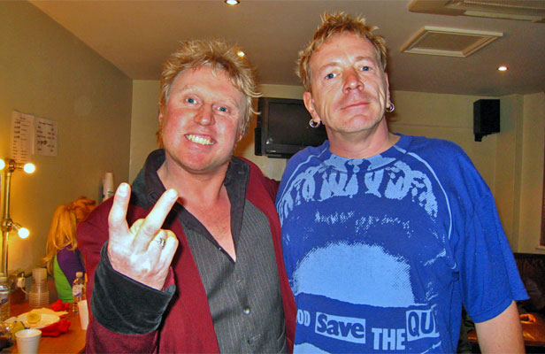 'DIAMOND GEEZER': Steve Andrews, left, pictured with John Lydon - also known as Johnny Rotten of the Sex Pistols.