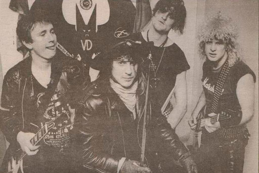 A newspaper clipping of Steve Andrews' band Vas Deferens, with Steve going by Luger Douche at the time, second from the left.