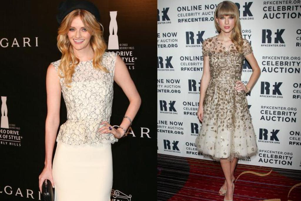 Lydia Hearst and Taylor Swift add sparkle to their champagne shades.