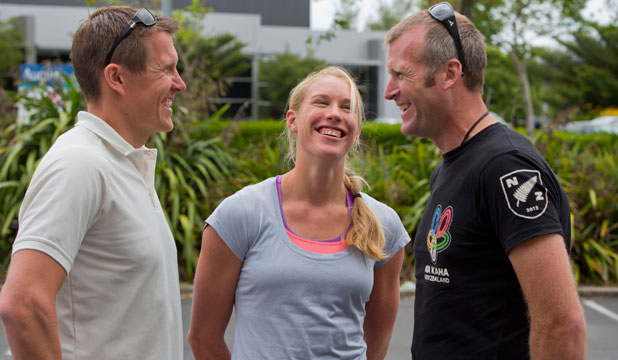 Mahe Drysdale, right, with fellow Olympic rowers Kim Crow and Lasse Karonen