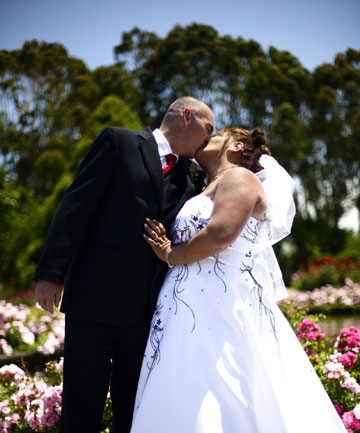 WHITE WEDDING: Darrell Blayney and Tracey Waho married today - 12/12/12  -in front of more than 100 people at the Dugald Mackenzie Rose Garden in the Esplanade.