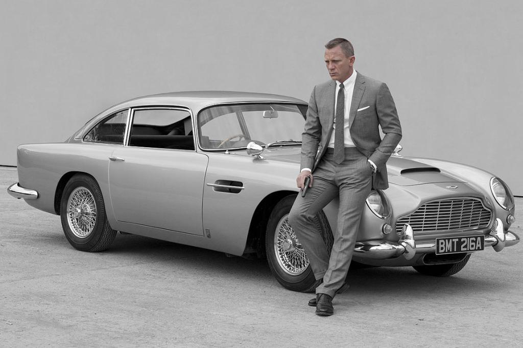 Daniel Craig as James Bond and the famous Aston Martin DB5 in the latest 007 movie, Skyfall.