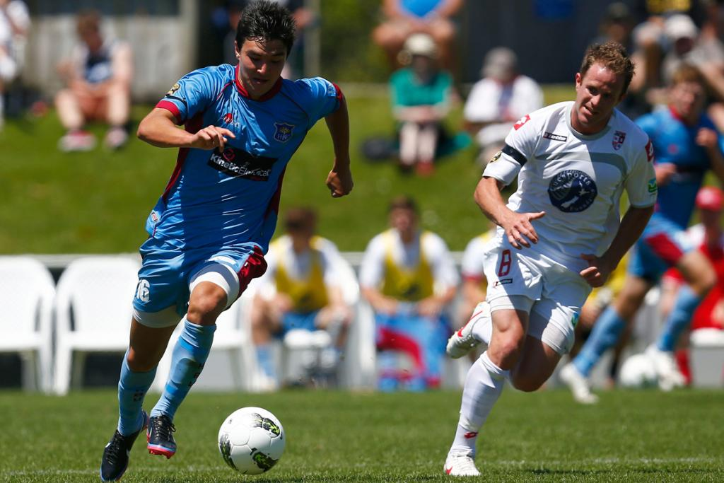 Sean Lovemore gets the edge on Waitakere's Chad Coombes.