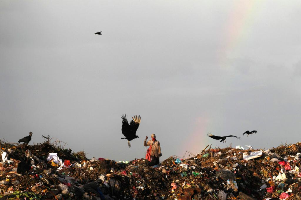 "DECEMBER 14: A man collects recyclable items in Managua's municipal garbage dump, known as ""La Chureca in Managua, Nicaragua. Spain delivered to the Mayor of Managua a modern recycling plant of solid waste valued at $48 million, expected to generate some 2,000 jobs, with the capacity to recycle between 750 and 800 tonnes of garbage per day. About 1,500 people inhabit La Chureca and make a living from recycling waste, local media said."