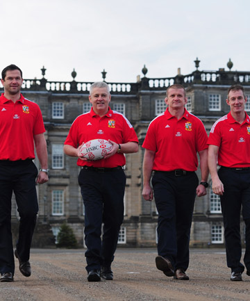 LIONS: Warren Gatland (2nd R) with assistants Andy Farrell (L) Graham Rowntree (2nd L) and Robert Howley (R).
