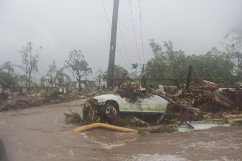 Damage in the Samoan capital, Apia, from Cyclone Evan.