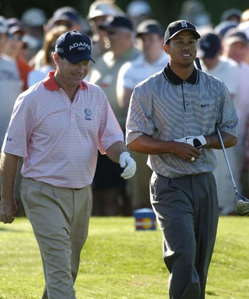 BURYING THE HATCHET: New Ryder Cup captain Tom Watson (left) and Tiger Woods have previous had a strained relationship, but both have shown they are keen to make up.