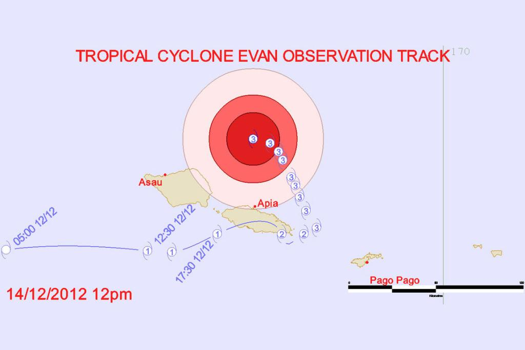 The projected path of Cyclone Evan.