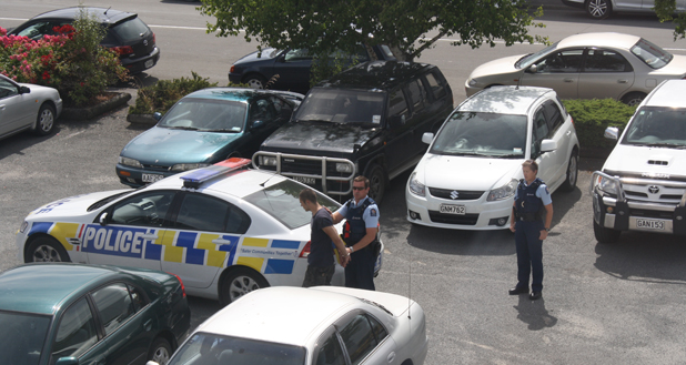 Police arrested a man in the Marlborough Express car park