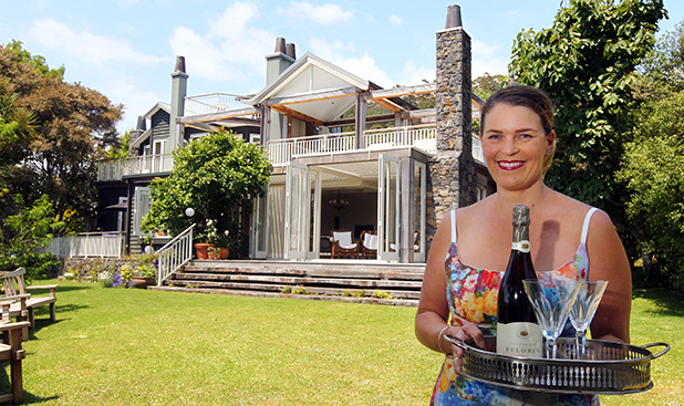 COCKTAIL HOUR: Loring Stewart, manager of 970 Lonely Bay Lodge at Cooks Beach, says the exclusive boutique hotel is attracting many visitors from overseas.