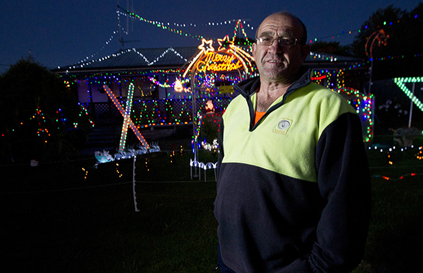 LABOUR OF LOVE: Mike Lammas and his light display at Forest Lake, Hamilton.