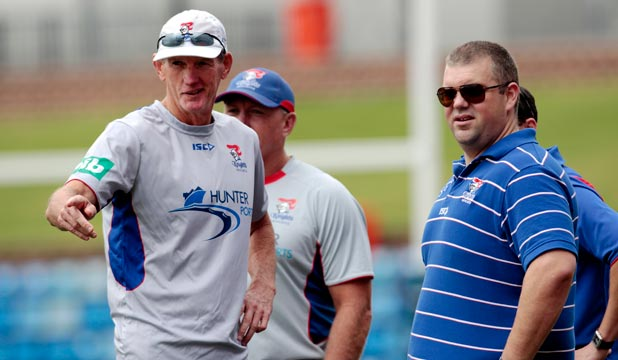 STANDING FIRM: Wayne Bennett (left) says he came to Newcastle because he shares Nathan Tinkler's vision for the club.