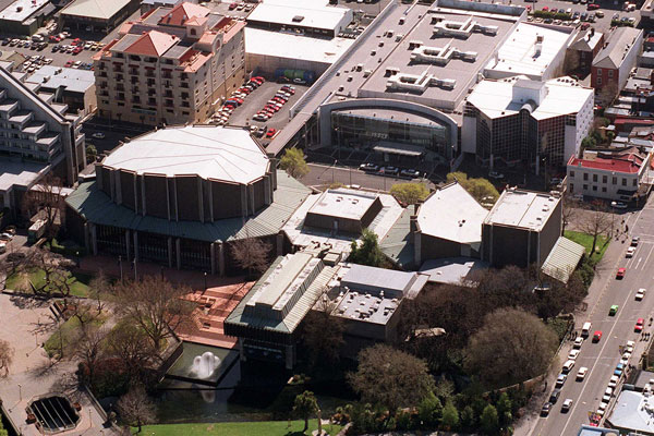 The way we were: The Christchurch Town Hall and the Convention Centre as they were.