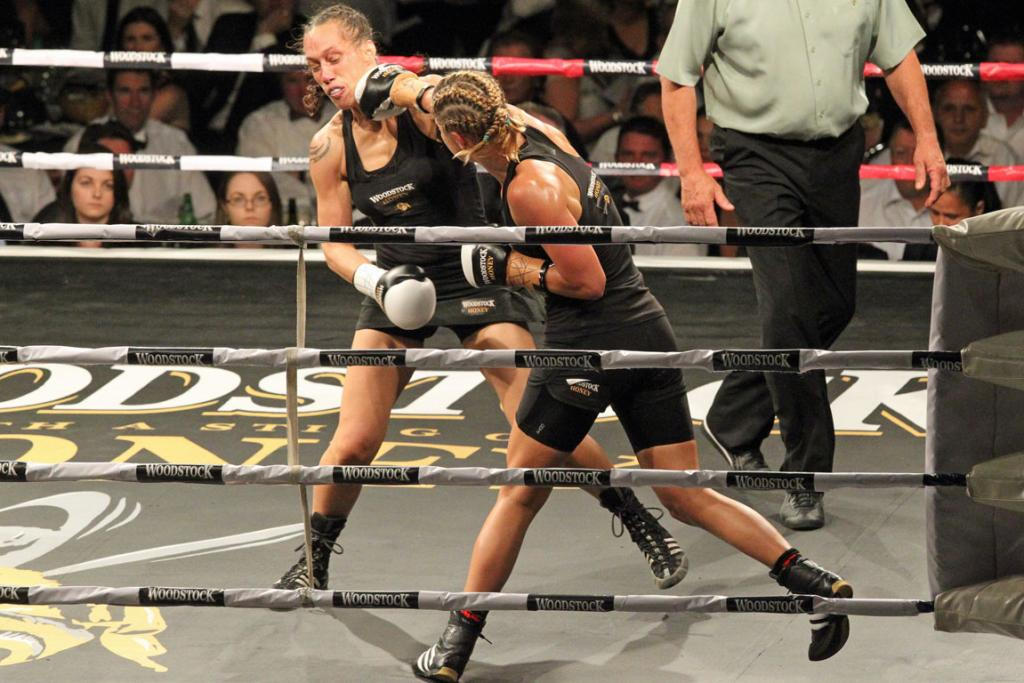 FACE SHOT: Lauryn Eagle lands a punch on Daniella Smith.