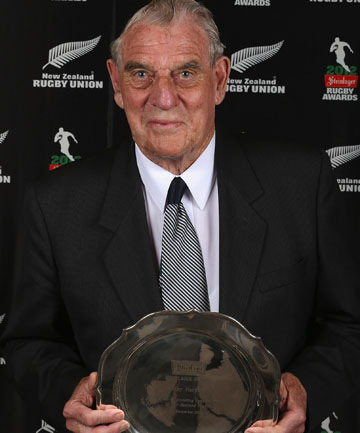 RECOGNISED: Rugby Southland life member Ray Harper holds the Steinlager Salver.