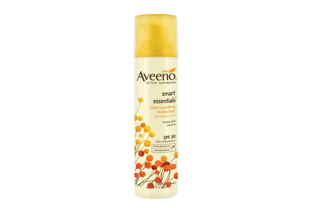 Aveeno Smart Essentials Daily Nourishing Moisturiser SPF30, $19.99. Get your UV coverage without the greasy feeling with this moisturiser with built-in SPF. It's incredibly lightweight, non-greasy, and soaks quickly into the skin. Makeup smoothes easily on top and it also smells wonderful.