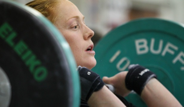 Ruth Anderson-Horrell, a top national senior woman lifter, convincingly totalled 156kgs.