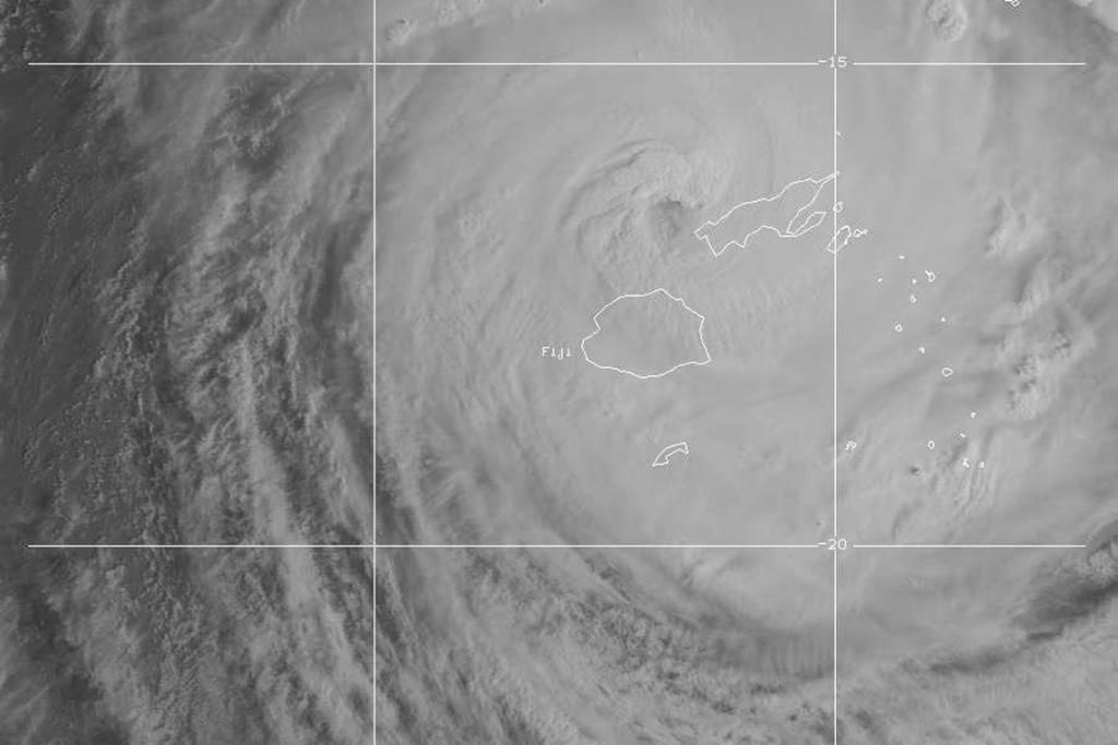 A satellite image of the storm bearing down on Fiji.
