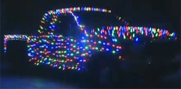 Christmas lights on truck.