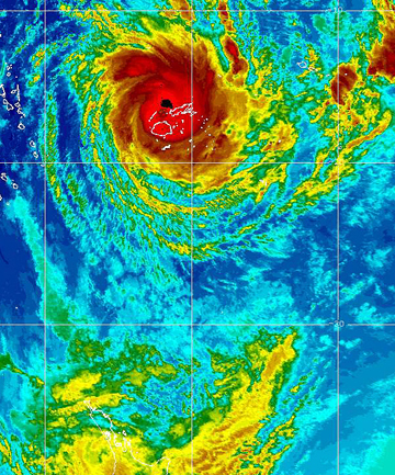 GETTING CLOSER: Cyclone Evan nears Fiji as seen in this latest photo from Samoa Met Service.