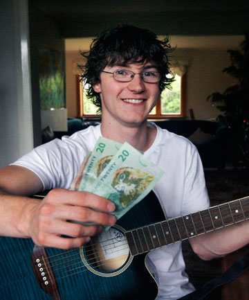 SMART MONEY: Joel Dalloway has worked since leaving school in 2011 so he will not need to get such a big loan for studying music at university next year.