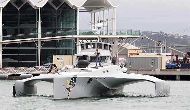 AHOY THERE: The Brigitte Bardot leaves the Hobson West Marina in Auckland.