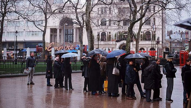 SO HOT: But too cold to queue in Leceister Square, London.