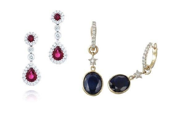 Invest: 18ct, white gold, ruby and diamond earrings $2,650 from Partridge Jewellers, and 9ct gold, diamond and sapphire earrings $2,875 from Zoe & Morgan.