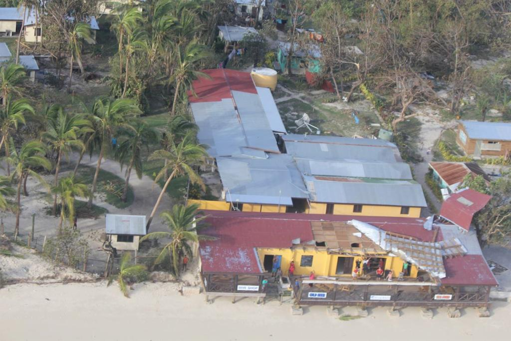 Damage from Cyclone Evan at a resort in western Fiji.