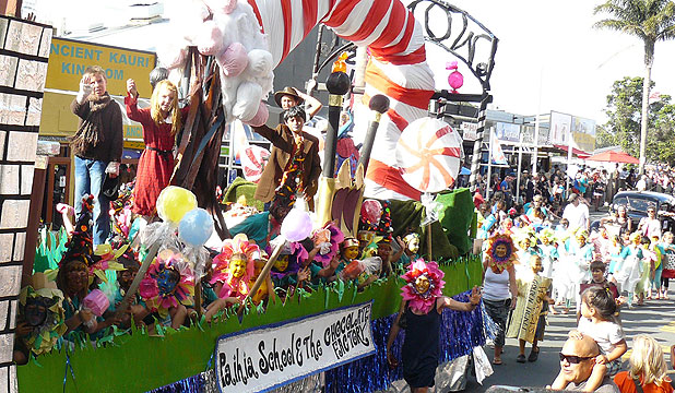 CENTRE STAGE: Paihia School, judged first in the community section, takes pride of place in a memorable parade.