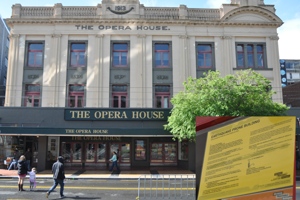 Shaky future: The Opera House may close for earthquake strengthening Insert: The council's earthquake-prone notice is displayed on the building's exterior.