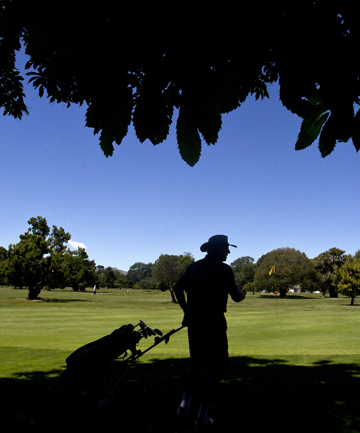 PURE PLEASURE: Doug Edgecombe plays a round in Hagley Park.