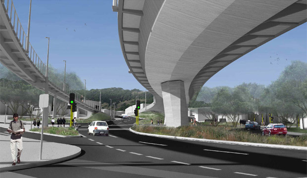 An artist's impression of the planned Basin Reserve Flyover.