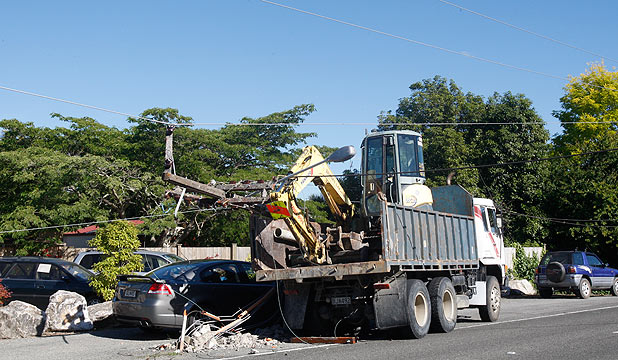 POLE DOWN: Scene of an accident on Main Rd Riwaka where a truck clipped a power pole and brought down lines.