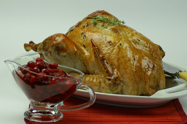 Christmas feast: Roast turkey with super sausage stuffing and cranberry sauce