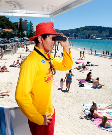 Senior lifeguard Troy Greenem keeps an eye on swimmers at Oriental Bay