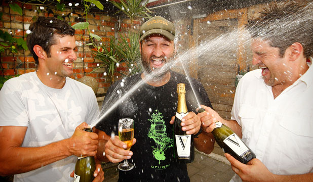 Vilagrad winery brothers (L-R) Adam, Jacob and Kristian Nooyen celebrate the release of their Sparkling Charminer.