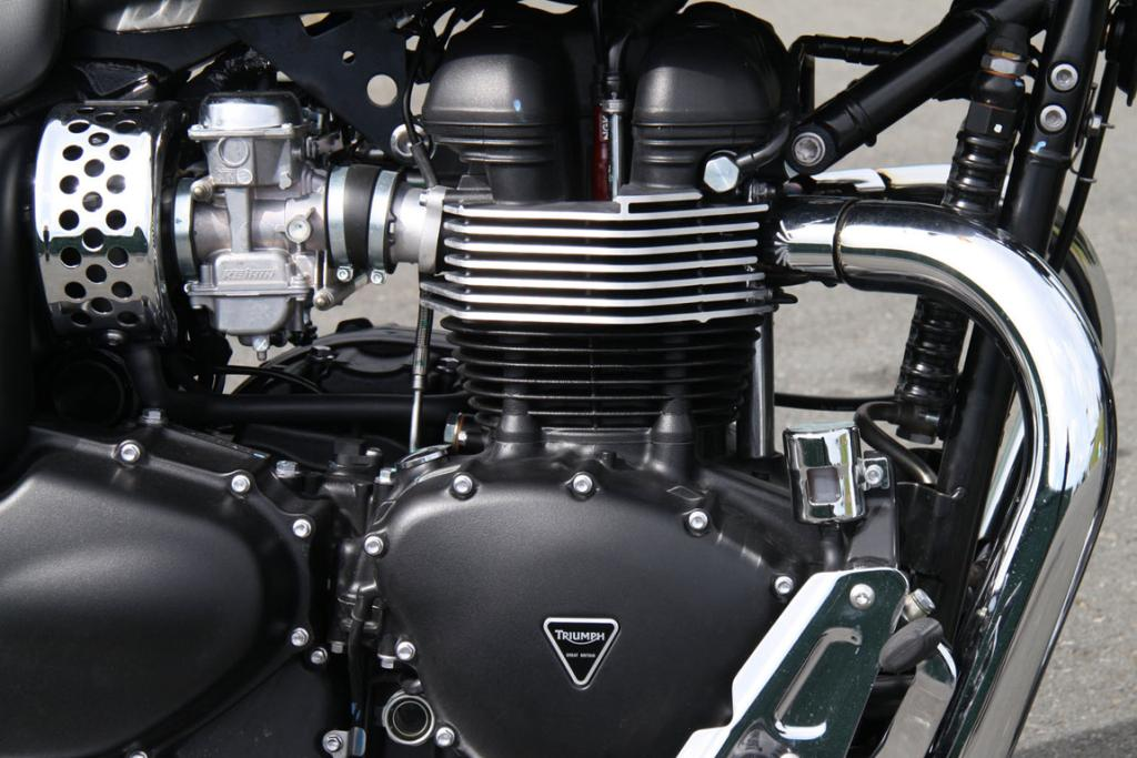 Parallel twin: The 865cc air-cooled dohc 8v fuel-injected unit looks uncannily like the Edward Turner designed engines Triumph used in the middle of the last century.