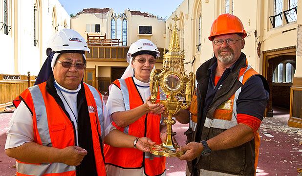 TREASURE UNCOVERED: Sister Lusia, Sister Mary-Rose and Paul King with the monstrance.
